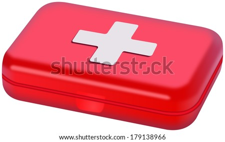 Small red plastic Medical box isolated on white