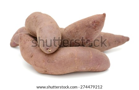 small red potatoes on white background - stock photo