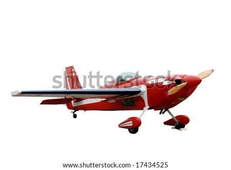 small red propeller plane isolated