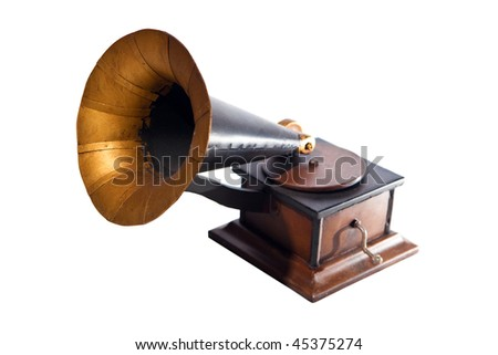 Small retro-styled gramophone. Isolated on white. - stock photo
