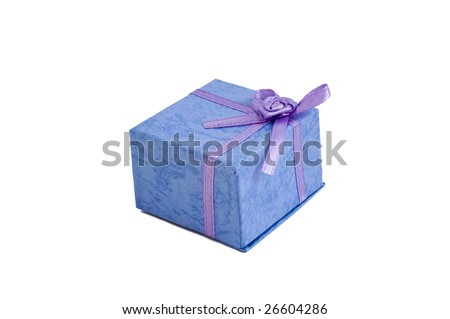 Small ring box with a bow, isolated on a white background