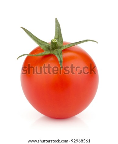 Small ripe tomato. Isolated on white background - stock photo