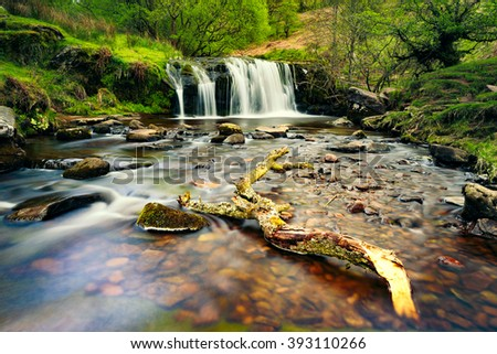 Small river in a National Park Breckon Beacons in Wales, Uk.   - stock photo