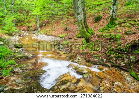 Small river in Balkan Mountains in the spring, Bulgaria. - stock photo