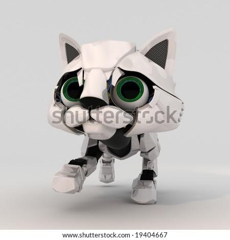 Small Robotic Kitten Model, 3d - stock photo