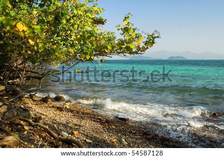 Small rocky beach of Ko Wai island, East Coast of Thailand.