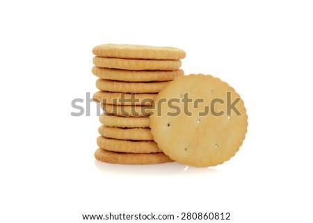 small round cracker - stock photo