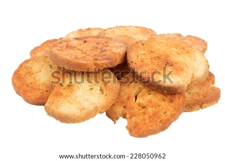 Small round mini bake rolls over white background