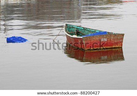 Small Row Boat -- Rockport, Massachusetts, USA - stock photo