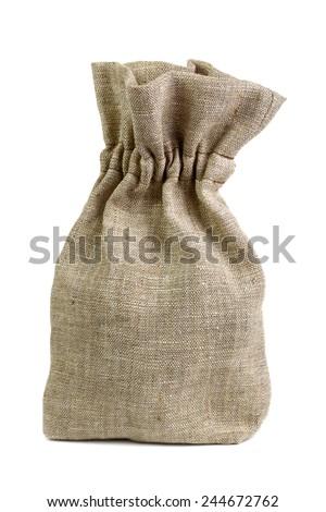 Small sack isolated on white - stock photo