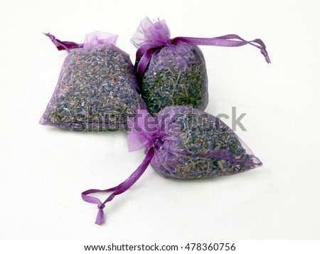 small sack with dried lavender herb