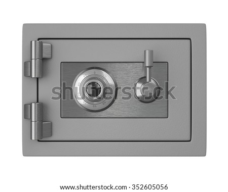 Small safe with password security. Isolated on white - stock photo