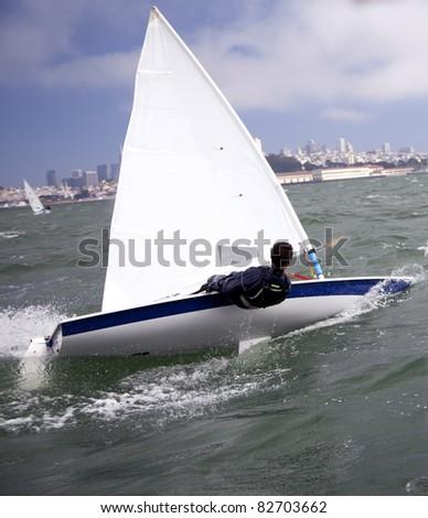 small sailboat on san francisco bay - stock photo