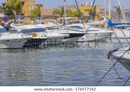 small sailboats moored in a marina