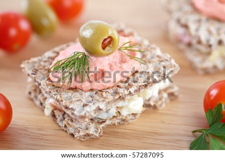 Small sandwich for catering event - stock photo