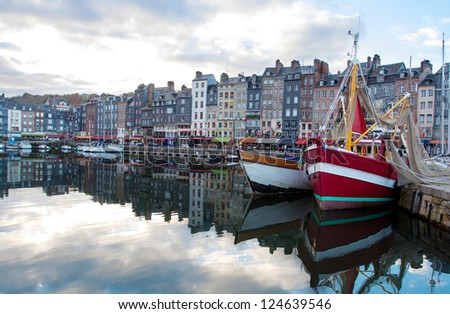 Small sea port. Port of Honfleur, France - stock photo