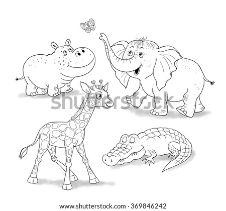 Small Set Of Baby African Animals Cute Giraffe Elephant Crocodile And Hippo