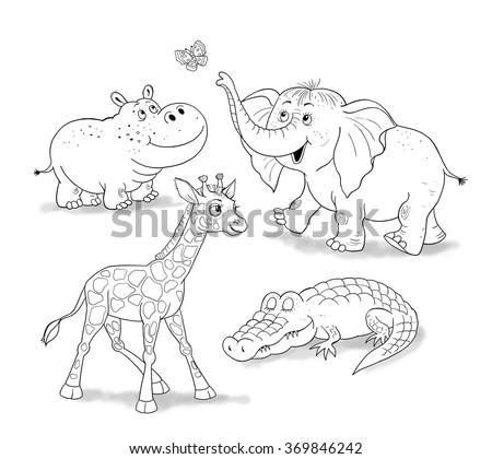 Small Set Of Baby African Animals Cute Giraffe Elephant Crocodile And Hippo