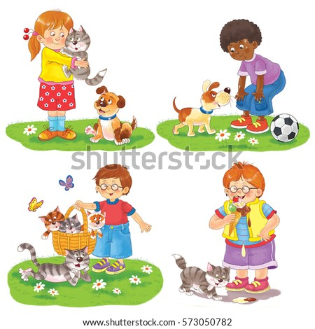 Cute Kids Playing Their Pets Park Stock Illustration