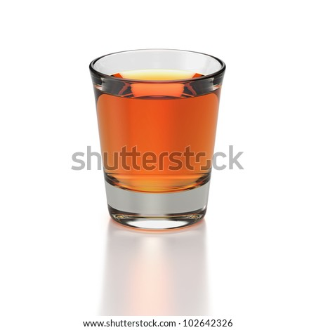 Small shot glass with whiskey colored drink on white background