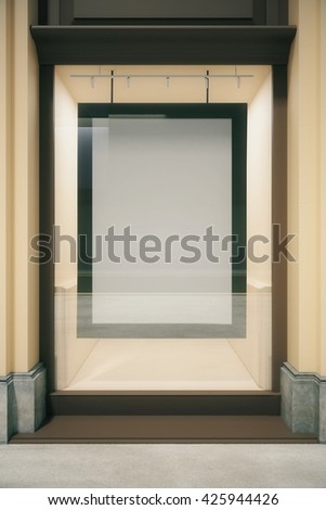 Small showcase with blank picture frame. Mock up, 3D Rendering - stock photo