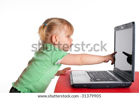 small showing the finger the monitor of laptop young girl