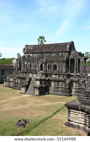 Small side temple at Angkor Wat in Cambodia - stock photo