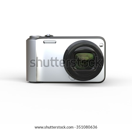 Small silver camera on white background - front view, ideal for digital and print design.