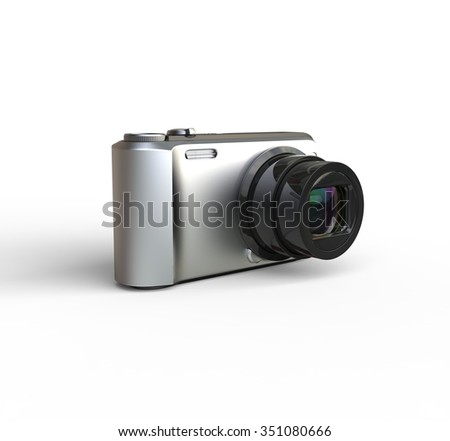 Small silver camera on white background - rotated, ideal for digital and print design.