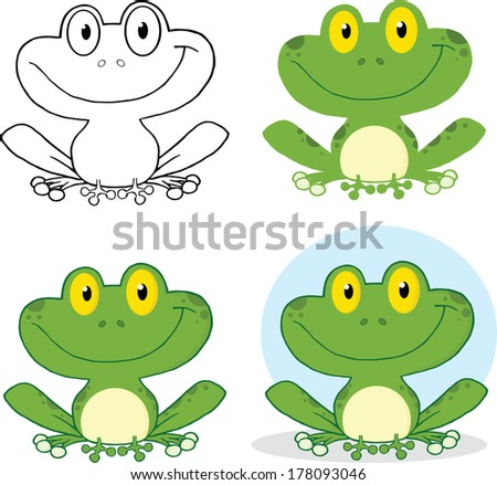Small Smiling Frog Cartoon Character. Set Raster Collection - stock photo