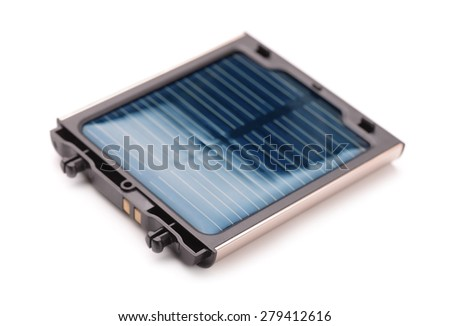 Small solar battery charger isolated on white - stock photo