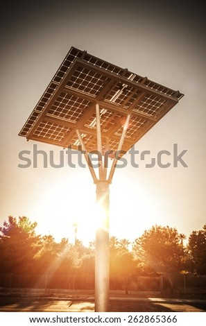 Small Solar Panel on the Pole in Nevada, United States. Solar Power Technology. - stock photo