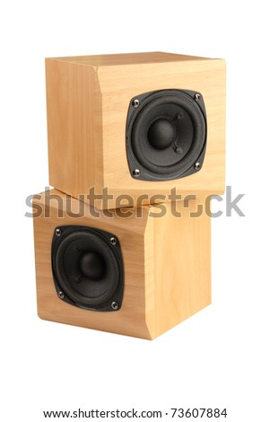 small speakers in wooden box isolated on white - stock photo