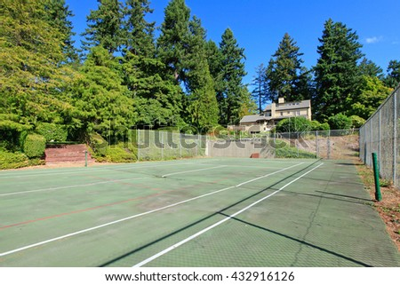 Small sports court near the house - stock photo