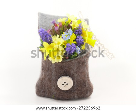 small spring garden flowers - stock photo