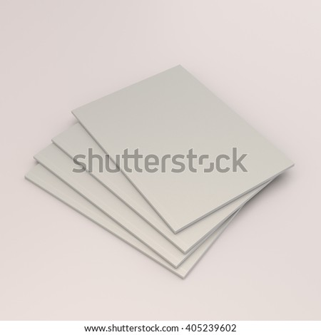 small stack of catalogs or magazines isolated