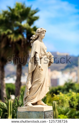 Small statue of La Paz (peace) in Ceuta, Spain - stock photo