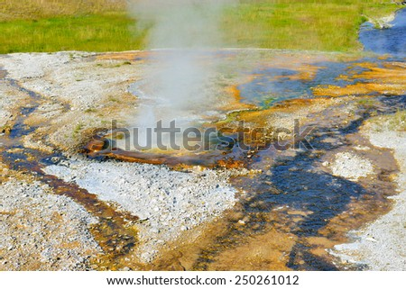 small steaming geyser in Upper Geyser basin of Yellowstone National Park, Wyoming - stock photo