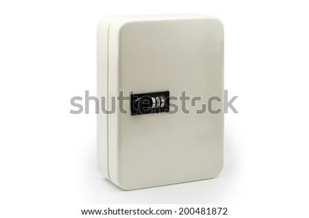 Small Steel Safe  on white background  : Clipping path included