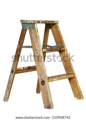 small stepladder isolated with clipping path at original size