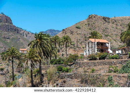 Small stone house in Valley Ayagaures of gran canaria, spain - stock photo
