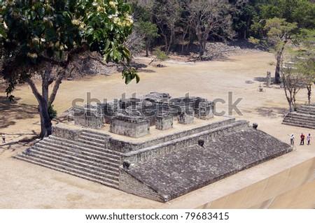 Small stone pyramid on the square in Copan, Honduras - stock photo