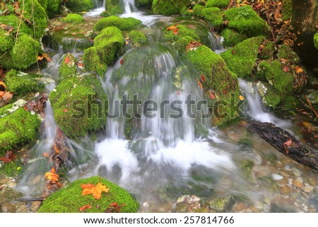 Small stream of water falling over moss covered rocks in autumn - stock photo