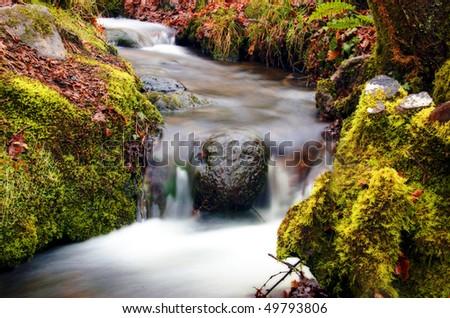 Small stream with waterfalls feeding into the River Dart in Devon, UK. - stock photo