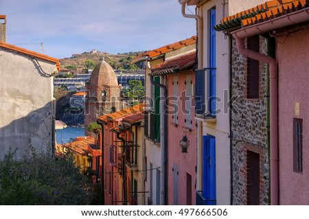 small street in Collioure, Languedoc-Roussillon in France