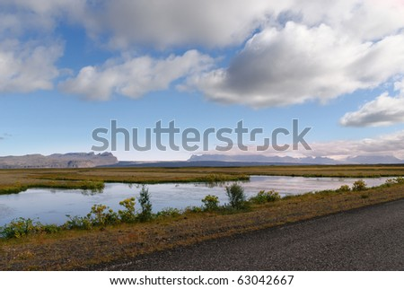 Small stretch of water in the south of Iceland near Vik