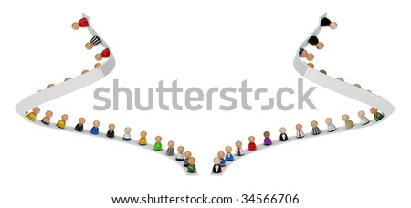 Small symbolic 3d figures on path, isolated - stock photo