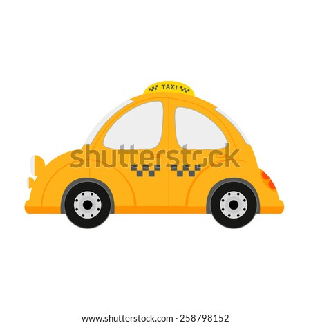 Small taxi car isolated on white - stock photo
