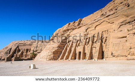 Small Temple of Nefertari, Abu Simbel, Egypt - stock photo
