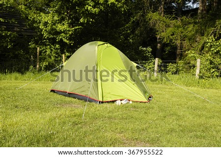 Small tent for two people at a campsite in Peak District National Park, United Kingdom - stock photo